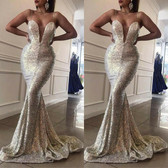 Silver #23 Women Formal Gown Wedding Bridesmaid Evening Party Bodycon Prom Cocktail Dress