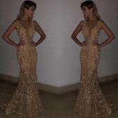 Gold #27 Women Formal Gown Wedding Bridesmaid Evening Party Bodycon Prom Cocktail Dress