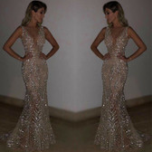 Silver #27 Women Formal Gown Wedding Bridesmaid Evening Party Bodycon Prom Cocktail Dress