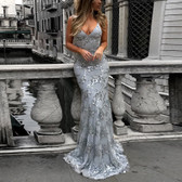 Gray #28 Women Formal Gown Wedding Bridesmaid Evening Party Bodycon Prom Cocktail Dress