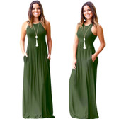 Army Green Women Boho Long Maxi Casual Dress Evening Party Beach Dresses Summer Sundress