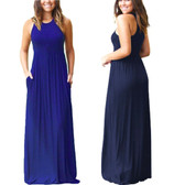 Royal Blue Women Boho Long Maxi Casual Dress Evening Party Beach Dresses Summer Sundress