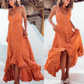 Orange #2 Women Boho Long Maxi Casual Dress Evening Party Beach Dresses Summer Sundress