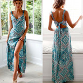Blue #2 Women Boho Long Maxi Casual Dress Evening Party Beach Dresses Summer Sundress