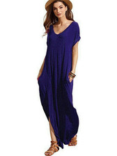 Royal Blue #3 Women Boho Long Maxi Casual Dress Evening Party Beach Dresses Summer Sundress