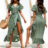 Green #5 Women Boho Long Maxi Casual Dress Evening Party Beach Dresses Summer Sundress