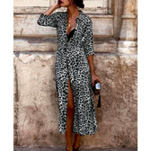Leopard Black #10 Women Boho Long Maxi Casual Dress Evening Party Beach Dresses Summer Sundress