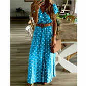 Blue #11 Women Boho Long Maxi Casual Dress Evening Party Beach Dresses Summer Sundress