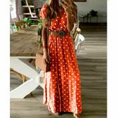 Red #11 Women Boho Long Maxi Casual Dress Evening Party Beach Dresses Summer Sundress