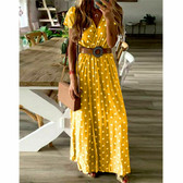 Yellow #11 Women Boho Long Maxi Casual Dress Evening Party Beach Dresses Summer Sundress