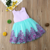 Kids Baby Girls Bow Tulle Princess Formal Violet Lavender Print Bridesmaid Dress