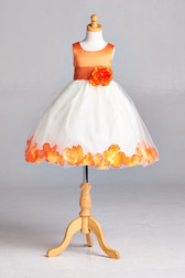 Flower Girl Dress Rose Petal Solid Orange
