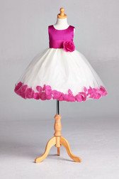 Flower Girl Dress Rose Petal Solid Magenta Fuchsia