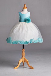 Flower Girl Dress Rose Petal Solid Aqua Blue