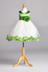 Flower Girl Dress Rose Petal Solid Clover Green