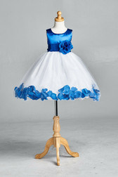 Flower Girl Dress Rose Petal Solid Apple Royal Blue