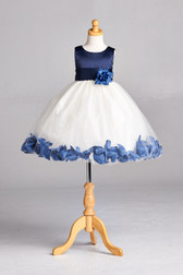 Flower Girl Dress Rose Petal Solid Navy Blue