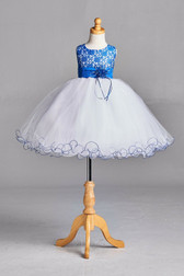 Royal Blue Lace Tulle Flower Girl Dress #2