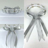 Gray Silver Headpiece Flower Girl Dress Headpiece (All Size)