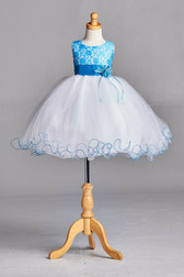 Turquoise Blue Lace Tulle Flower Girl Dress #2