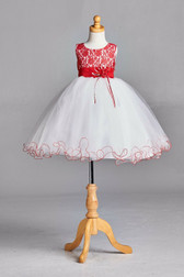 Red Lace Tulle Flower Girl Dress #2