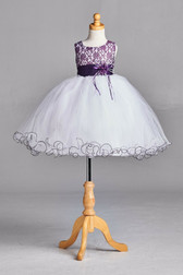 Plum Lace Tulle Flower Girl Dress #2