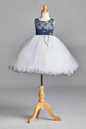Navy Blue Lace Tulle Flower Girl Dress #2