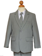 Gray Boy Suit Teen Graduation, Recital, Rang Bearer Light Gray/White Suit Set