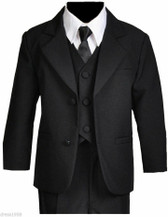 Boys Recital, Ring Bearer Graduation Formal Suit Set, Black