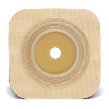 "SUR-FIT Natura Durahesive Skin Barrier with Flange,with tape collar (overall dimension 4"" x 4""), Tan collar 413164"