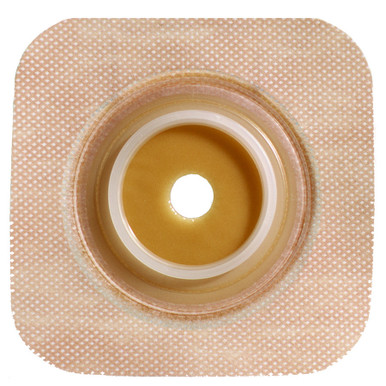"""125262 1-1/4"""" Flange Size - ConvaTec SUR-FIT Natura Stomahesive Skin Barrier with Cut-to-Fit Opening and Tan Tape Collar (overall dimension 4"""" x 4"""")"""