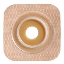 """125267 SUR-FIT Natura Stomahesive Flexible Skin Barrier with Precut Openings with 45mm 1-3/4"""") Flange with Tan tape collar (overall dimensions 4"""" x 4"""")"""