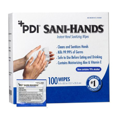 Hand Sanitizing Wipe Sani-Hands® 100 Count Ethyl Alcohol Wipe Individual Packet