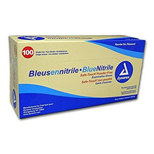 Safe-Touch® BLUE Nitrile Gloves, MEDIUM, 100/box