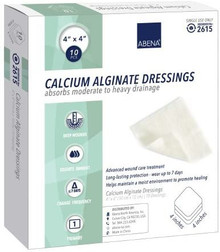 Abena Calcium Alginate Dressing 4 x 4 Inch Square Calcium Alginate Pack of 10