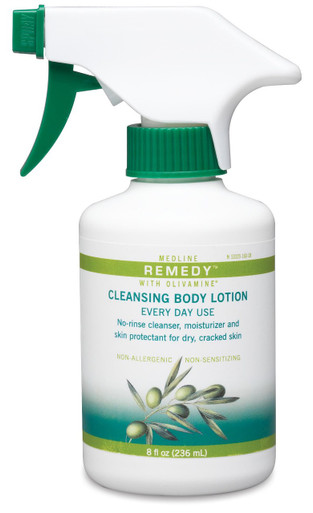 Remedy Olivamine Cleansing Body Lotion to cleanse, moisturize, protect and nourish skin in one application. No rinse cleanses and removes sticky barrier film and paste.