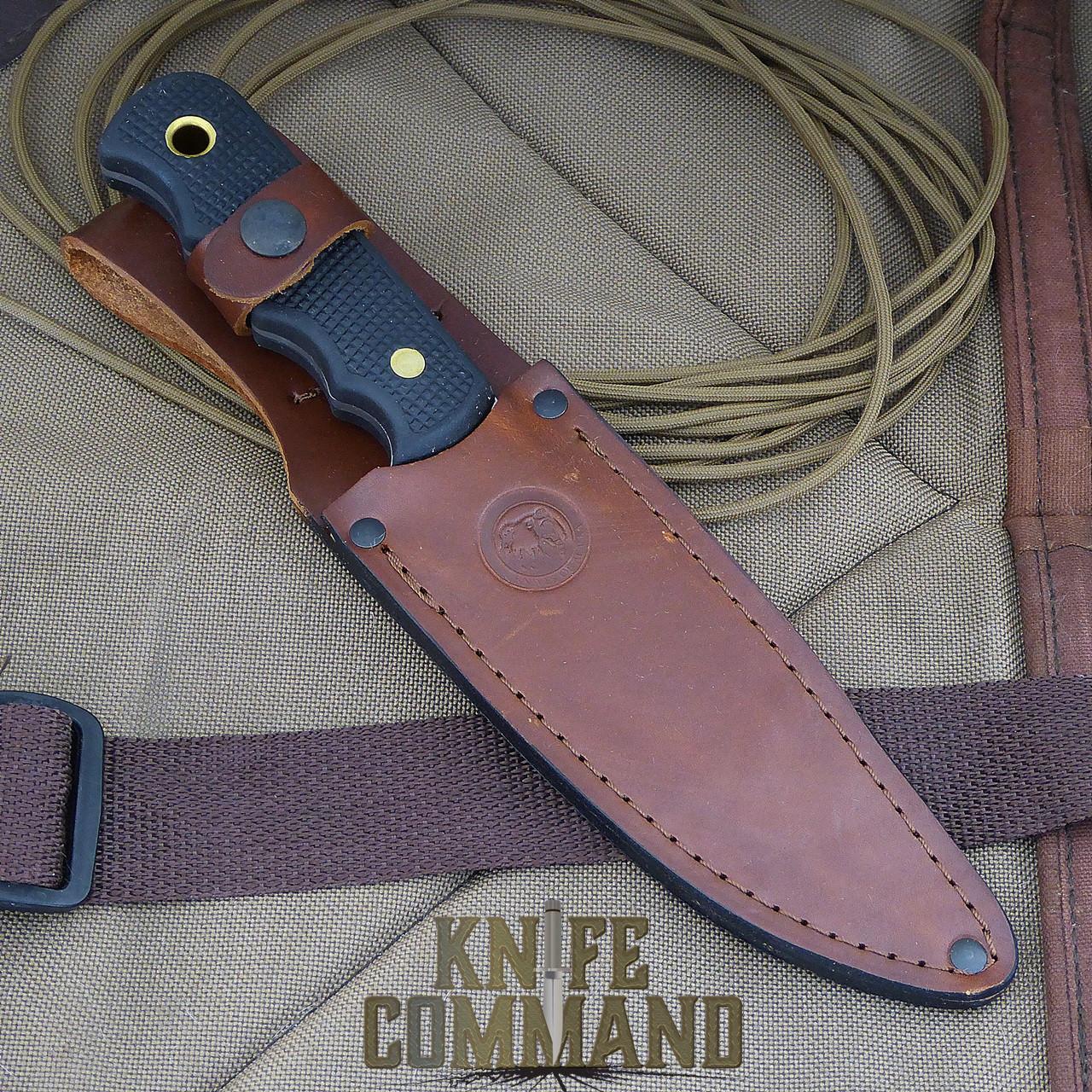 Knives of Alaska Bush Camp Hunting Knife.  High quality leather sheath.