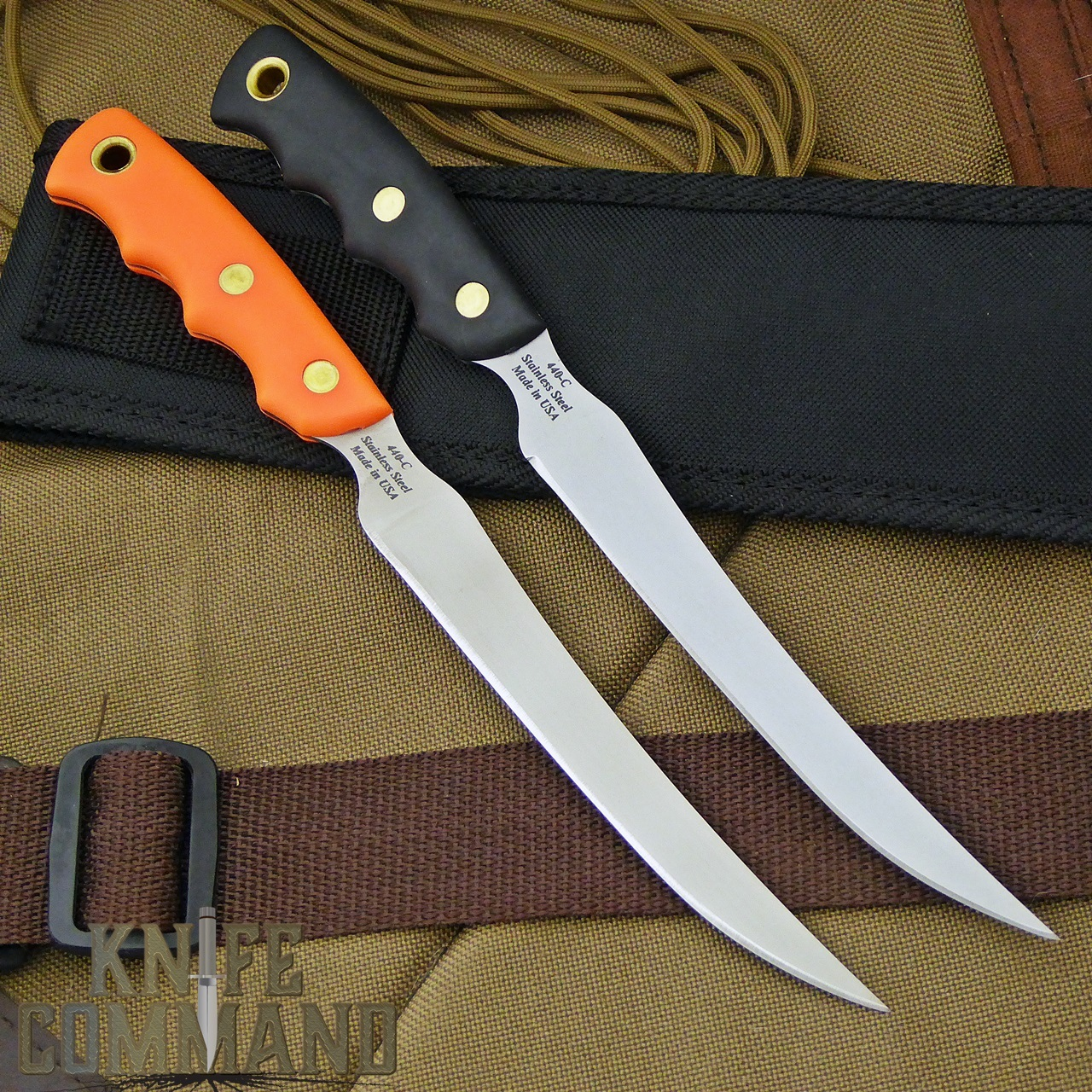 Knives of Alaska Steelheader Fillet Knife.  Black or Orange Suregrip handles.