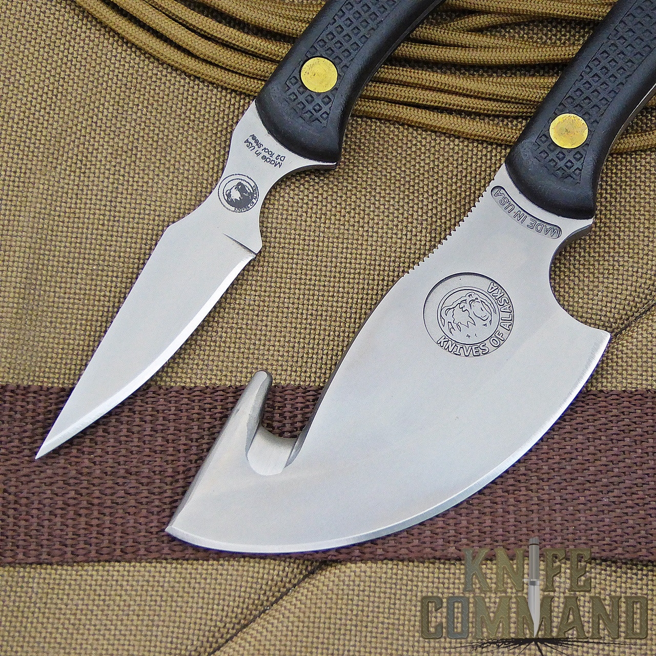 Knives of Alaska Light Hunter Suregrip Hunting Knife Combo.  For fine detail and heavy cutting.