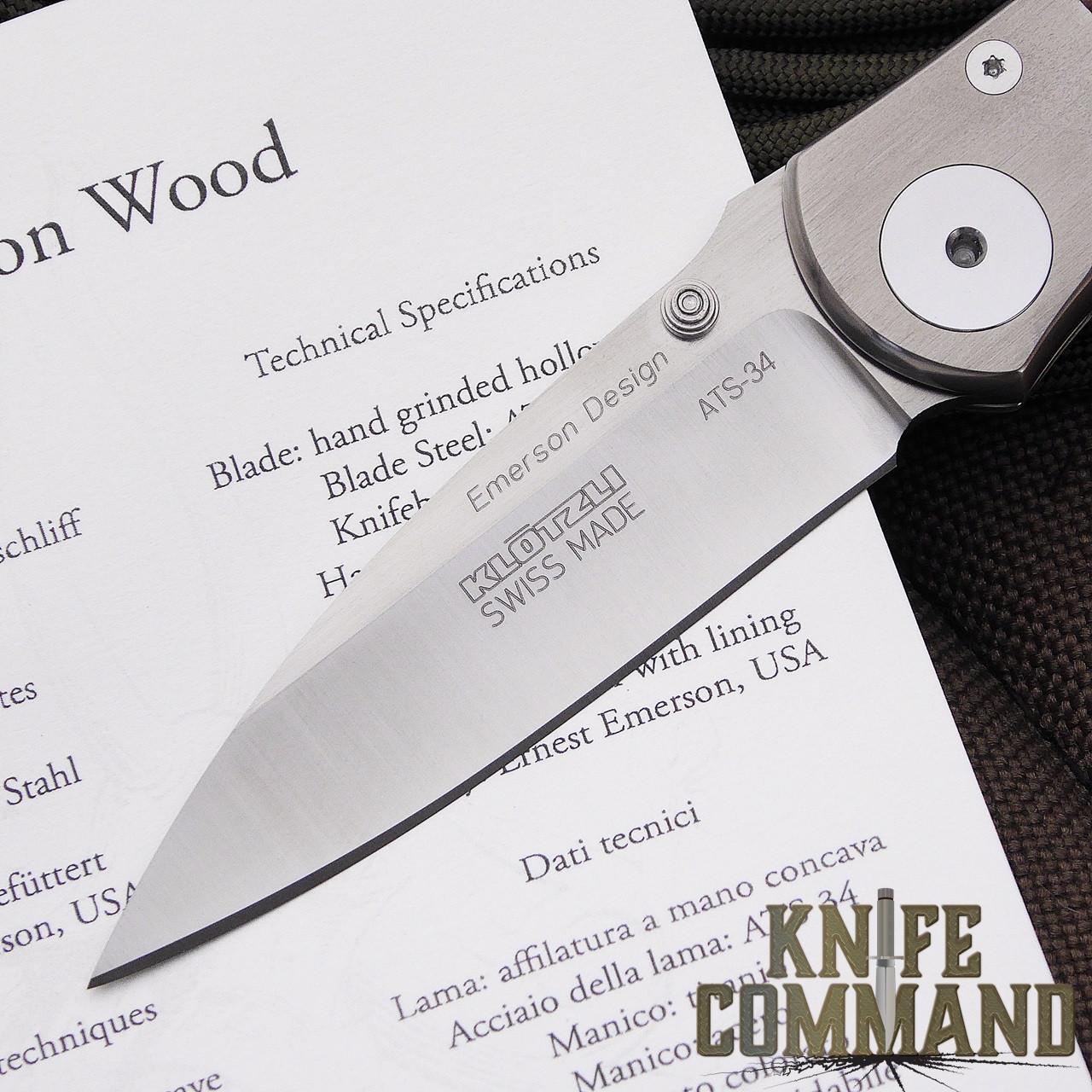 Klotzli Knives Ernest Emerson Titanium Maple Folding Knife.  ATS-34 drop point blade.