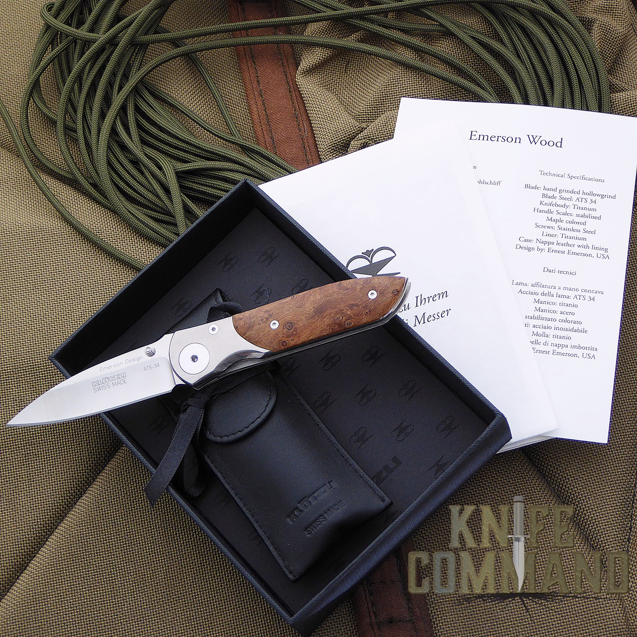 Klotzli Knives Ernest Emerson Titanium Maple Folding Knife.  Classy packaging with papers.