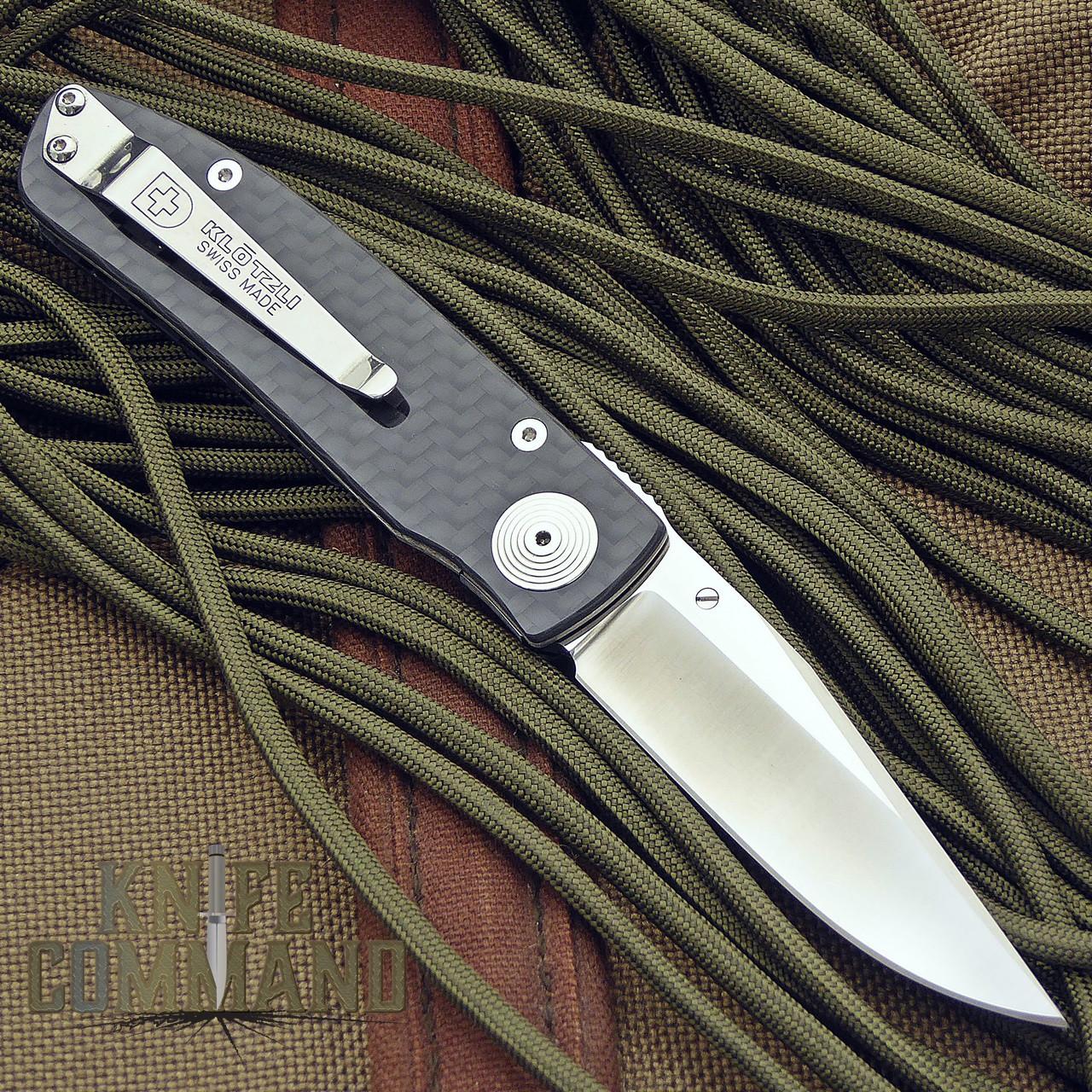 Klotzli Knives Michael Walker ACC-M1-C Carbon Fiber Titanium Folding Knife.  Klotzli pocket clip.