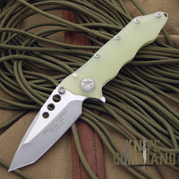Guardian Tactical Helix Nano Jade Green Tanto Two-Tone Satin Knife.  EDC sized tactical folder.