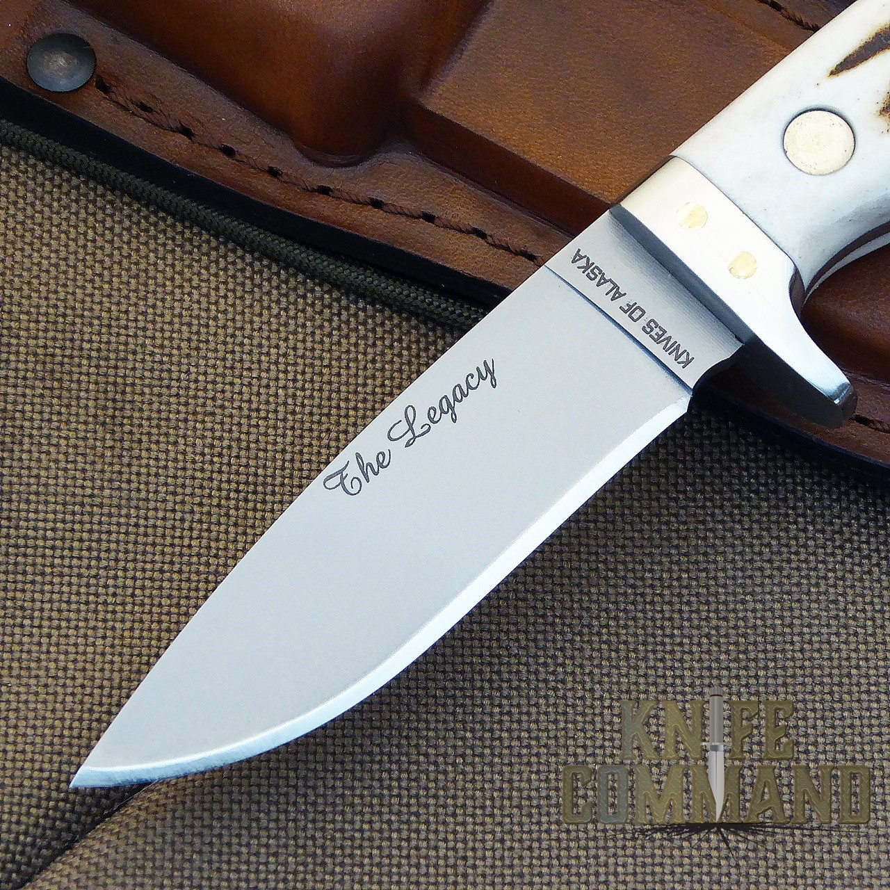 Knives of Alaska The Legacy Stag Hunting Knife.  Drop point D2 blade.