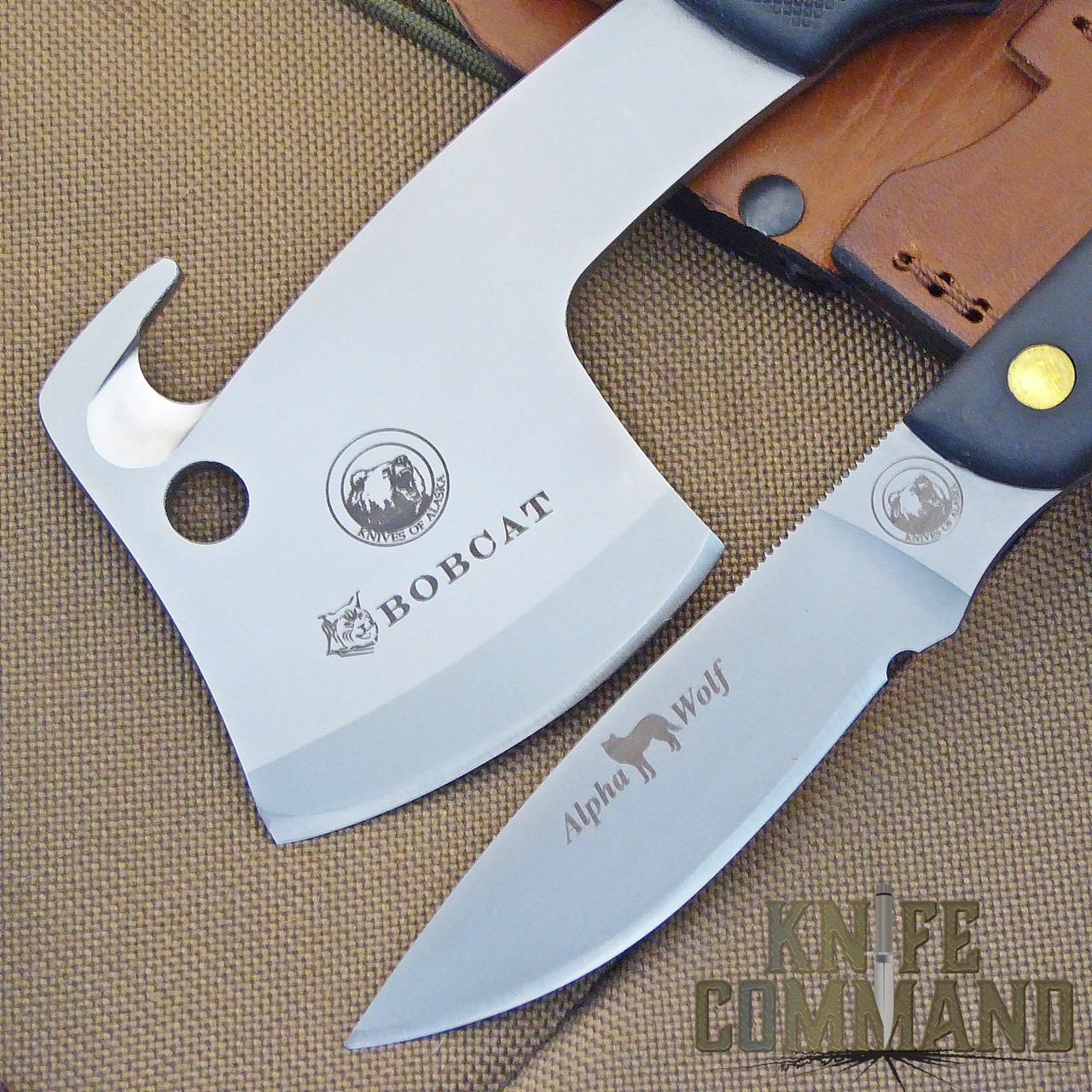 Knives of Alaska Bobcat Mini Hatchet Alpha Wolf Hunting Knife Combo.  Chops, guts, slices and dices!