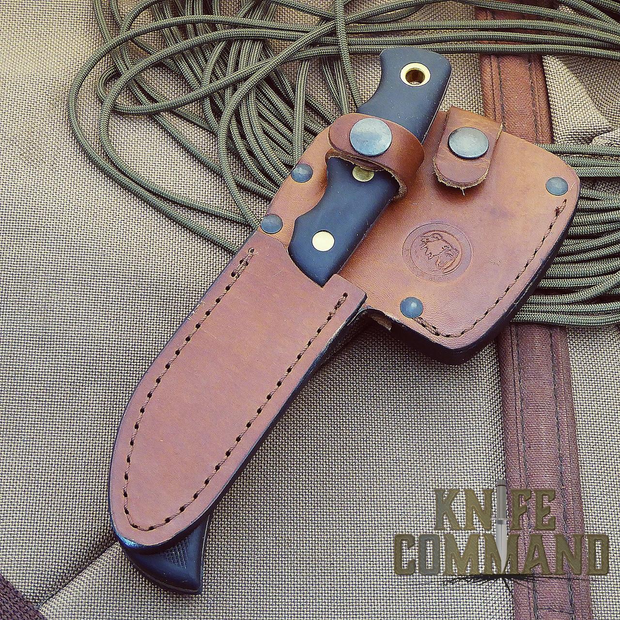 Knives of Alaska Bobcat Mini Hatchet Alpha Wolf Hunting Knife Combo.  Custom leather sheath holds both.