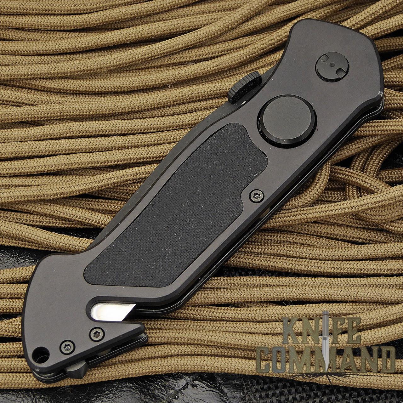 Eickhorn Solingen PRT VI Black Tactical Emergency Rescue Knife.  Thumb stud and lock release big enough, even when wearing gloves.