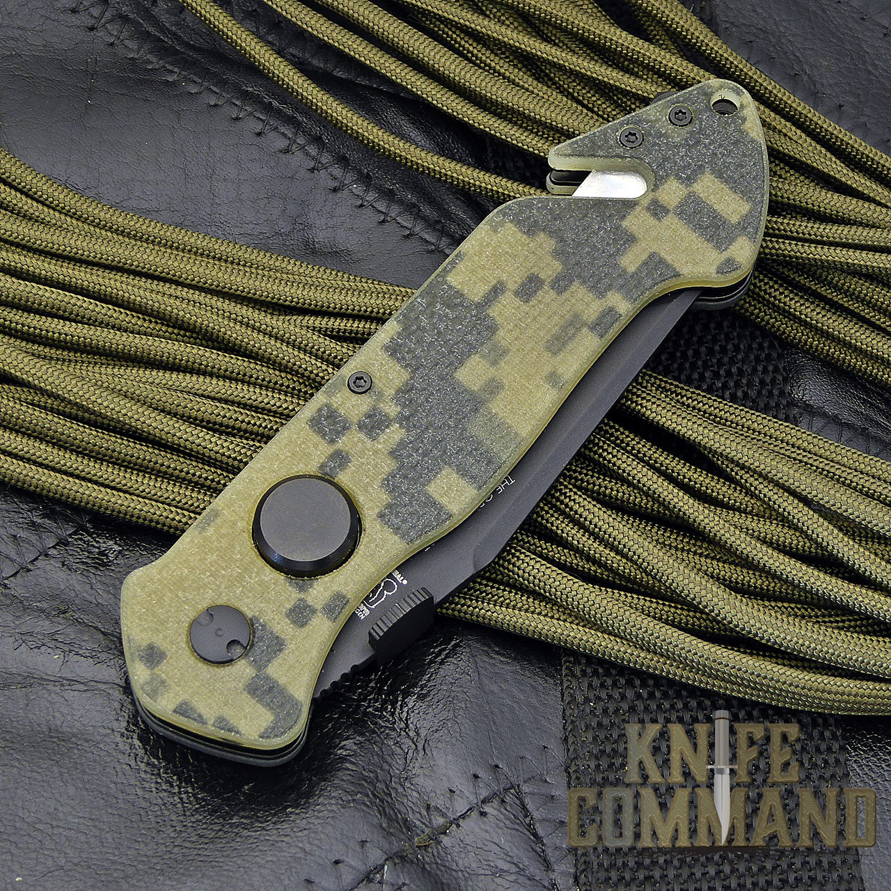 Eickhorn Solingen PRT X Digicam G10 Tanto Tactical Emergency Rescue Knife.  Large thumb button liner lock release.