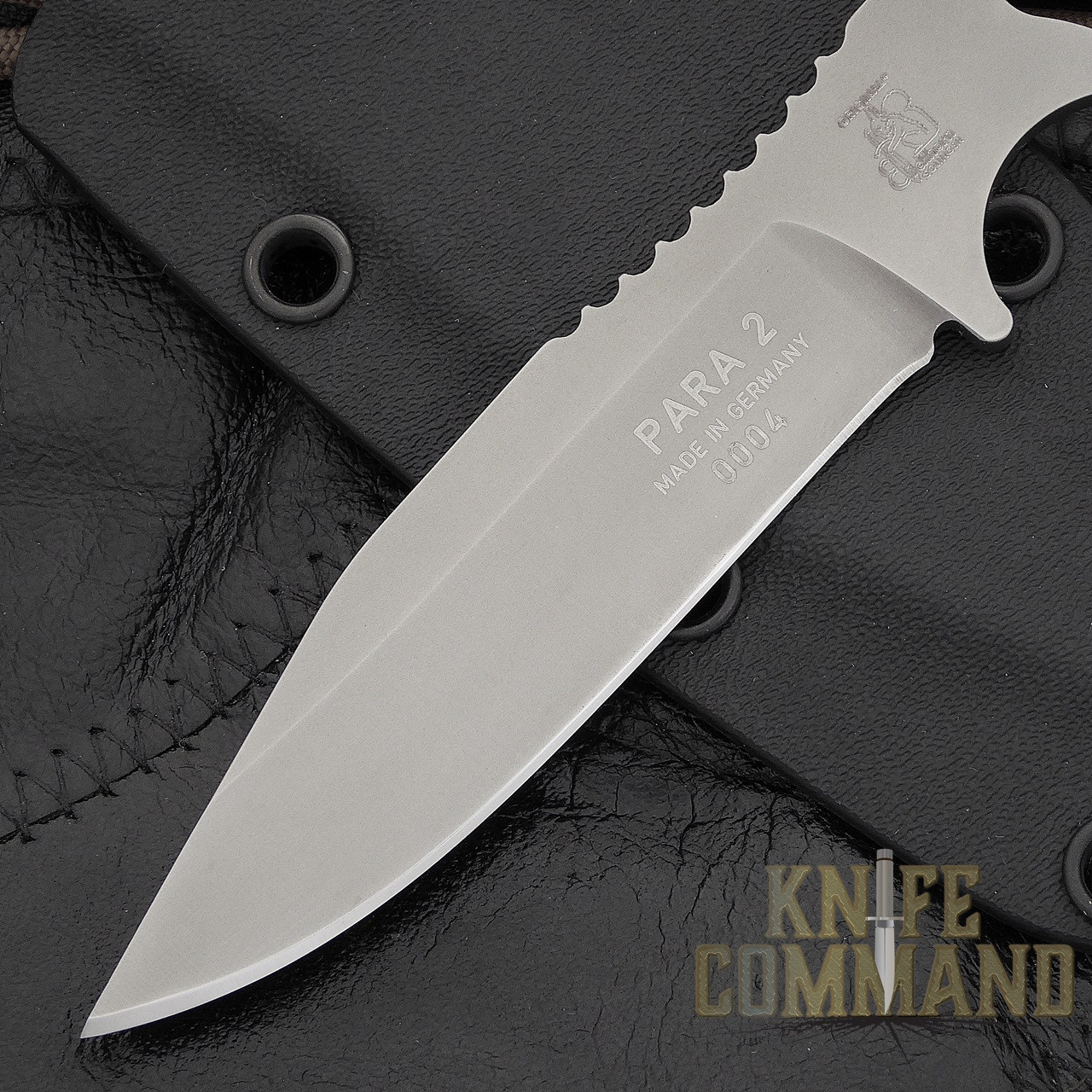 Eickhorn Solingen Para-2 Neck / Boot Knife.  Clip point with thumb traction.