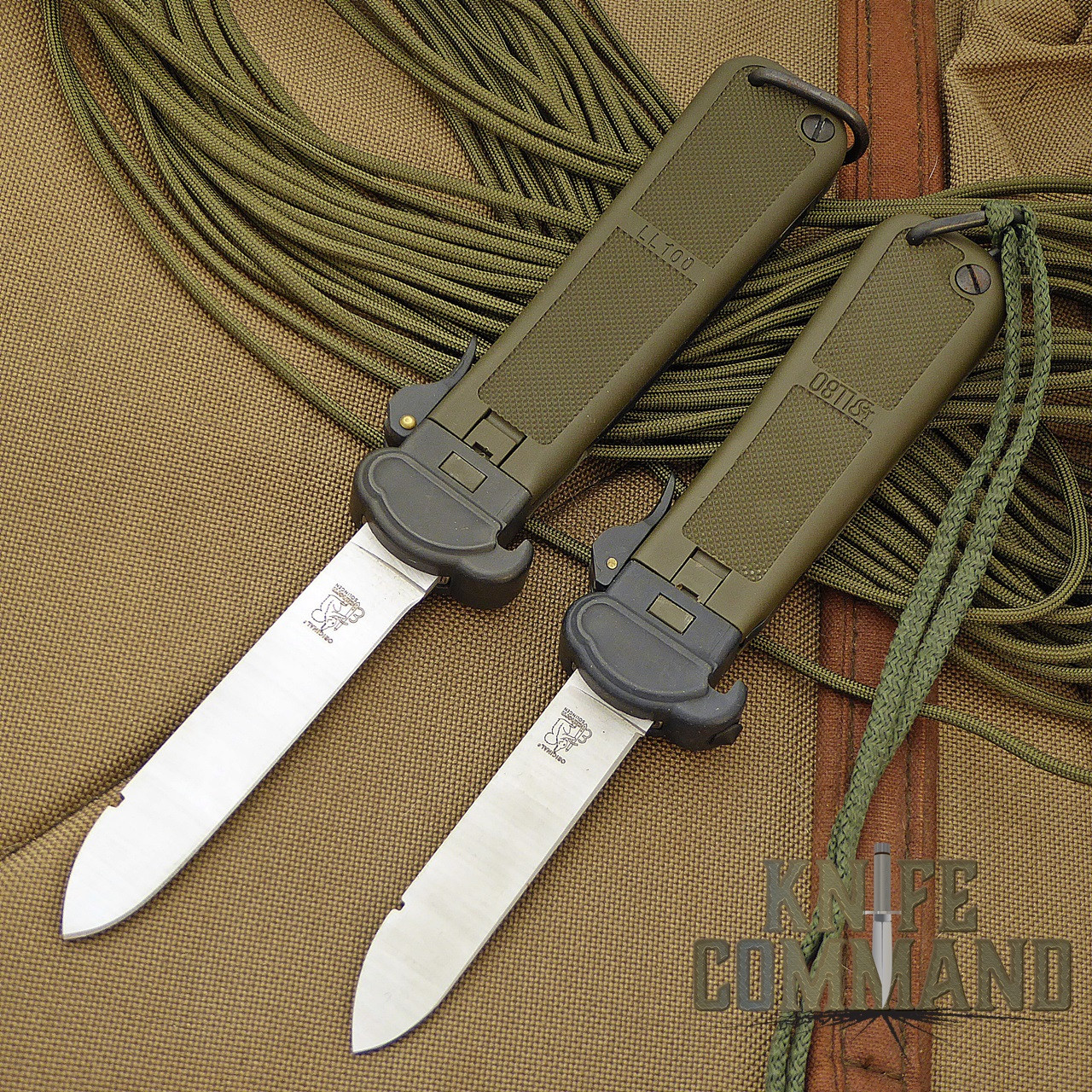 Eickhorn Solingen LL100 Paratrooper Knife.  The larger LL100 pictured here with the smaller LL80.